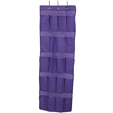 Lays 20 Pockets Hanging Storage Bag Non-Woven With Hooks For Shoes Door Closet Shelf (Purple)