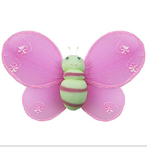 Hanging Bumblebee 16 X-Large Dark Pink Green Hailey Nylon Mesh Bumble Bee Decorations Decorate Baby Nursery Bedroom, Girls Room Ceiling Wall Decor Wedding Birthday Party Baby Shower 3D Honey Bees Art