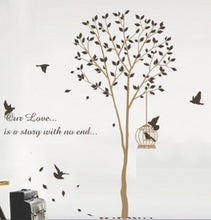 Load image into Gallery viewer, Wallstickersusa Baby Nursery Wall Sticker, Brown Tree With A Bird Cage