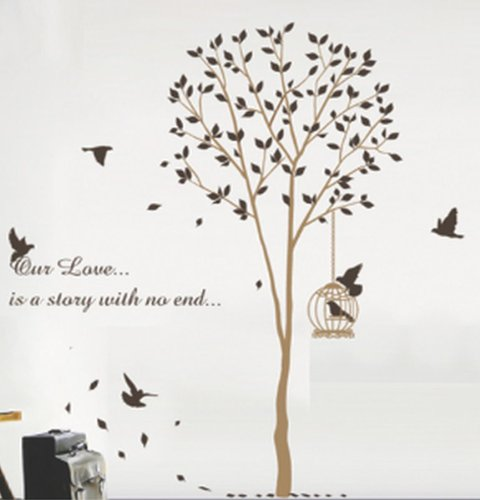 Wallstickersusa Baby Nursery Wall Sticker, Brown Tree With A Bird Cage