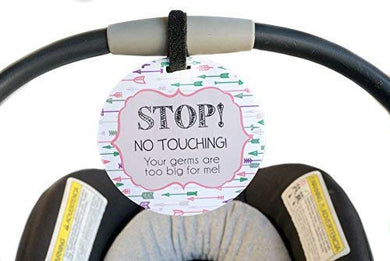 Pink Arrow Tag - Stop, No Touching, Your Germs Are Too Big For Me (Pink Preemie Sign, Newborn, Baby Car Seat Tag, Baby Shower, Stroller Tag, Baby Preemie No Touching Car Seat Sign)