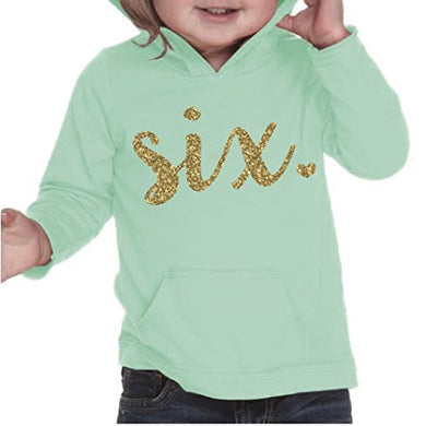 Girl Sixth Birthday Shirt, Sixth Birthday Outfit, Six Year Old Birthday Outfit (4T, Ice Green) (6T, Hot Pink)