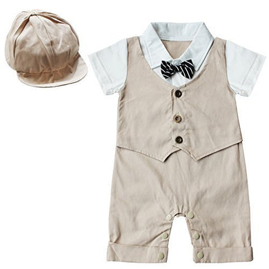 Feeshow Baby Boys' Short Sleeve Gentleman Romper With Hat 2Pcs Outfit Set Size 9-12 Months Khaki