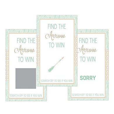 Set Of 12 Scratch Off Game Cards For Baby Shower Games With Tribal Arrow In Mint Green Sc437