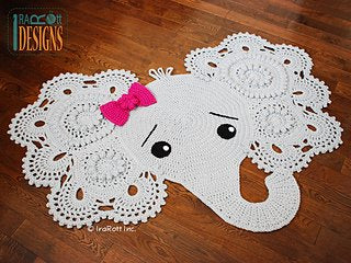 Elephant Playmat Rug Room Decoration 100% Cotton Handmade
