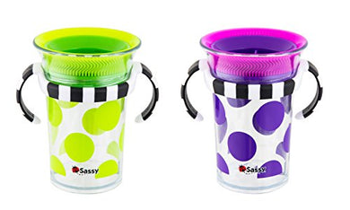 Sassy Tritan Trainer Cup 7 Ounces, - 6+ Months Pediatric Dentist Recommended 360 Spoutless Sippy Cup Design Bpa-Free &Amp; Top-Rack Dishwasher Safe