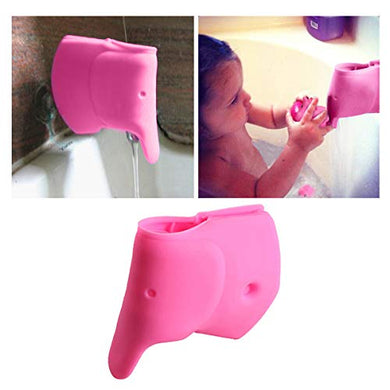 Ihomegarden Bath Spout Cover - Bathtub Faucet Cover For Kid - Bath Tub Faucet Extender Protector For Baby - Silicone Soft Spout Cover Baby Pink Elephant - Child Bathroom Cute Accessories