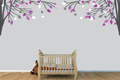 Childrens Wall Decals, Vinyl Purple And Gray Tree Wall Decal, Tree Branch Wall Decal