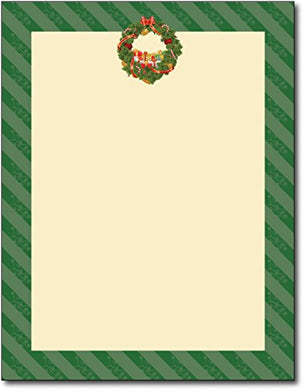 Christmas Wreath Holiday Letterhead - 80 Sheets