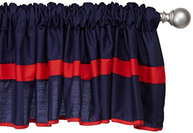 Baby Doll Bedding Solid Stripe Window Valance, Navy/Red