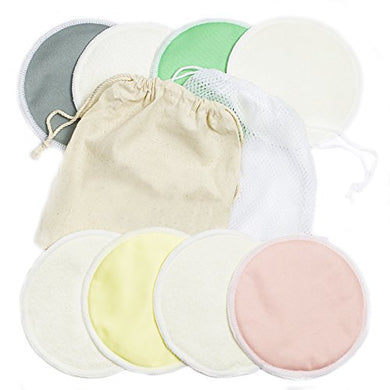 Kiddo Care Organic Bamboo Nursing Pads -Pastel Color - Reusable Breast Pads,Washable Bra Pads, Waterproof, Free Laundry Bag, Free Travel Bag !