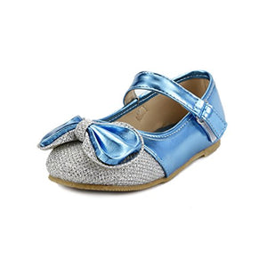Girls Dress Shoes Wedding Party Sparkle Metallic Mary Jane Style Toddler & Youth Size (7, Blue)