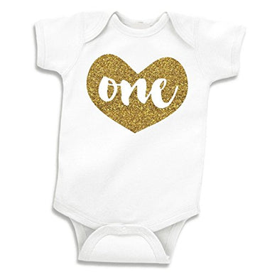Baby Girls First Birthday Outfit For One Year Old - One  Gold Glitter Heart Shirt (12-18 Months)