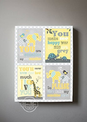 Muralmax - You Are My Sunshine Theme - The Elephant &Amp; Friends Collection - Canvas Nursery Dcor - Size - 12 X 16