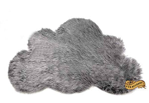 Baby Nursery Area Rug / Cloud Shaped Faux Fur Accent Throw / Sheepskin Shag (2'X3', Silver Gray)