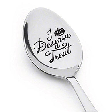 Halloween Spoon - Stamped Spoon - Engraved Gift - Gift For Halloween Party - Funny Gift - Children'S Gift- Halloween Decoration (Deserve A Treat)