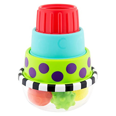 Sassy Stack &Amp; Dunk Floor Toy  6-24 Months Brightly Colored And Textured Rings, And Three Textured Balls, Helps Strengthen Babys Gross And Fine Motor Skills