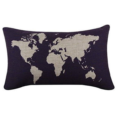 Hatop Cotton Linen World Map Decorative Cushion Cover Pillowslip Case Cover (Dark Blue 2)