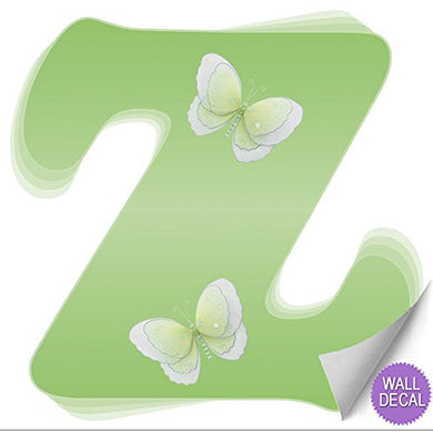 Wall Letters Z Green Butterfly Decorative Wall Letter For Children'S Nursery Baby'S Room Baby Name Girls Bedroom Decor - Alphabet Initial Vinyl Stickers Decals Kids Decorations Graphics Butterflies