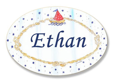 The Kids Room By Stupell Ethan, Sailboat And Stars Personalized Oval Wall Plaque