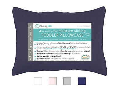 Moisture Wicking Toddler Pillowcase For Sweaty Sleepers - Fits 13 X 18 And 14 X 19 Pillows, Envelope Style Pillow Cover, Features Patented Drirelease(R) Moisture Wicking Technology (Navy Blue)