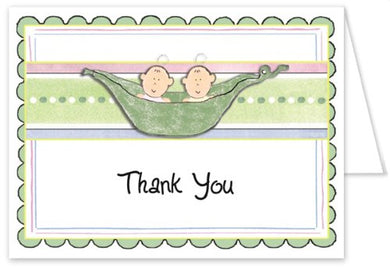 3D 2 Peas In A Pod Boys Baby Thank You Cards - Set Of 20