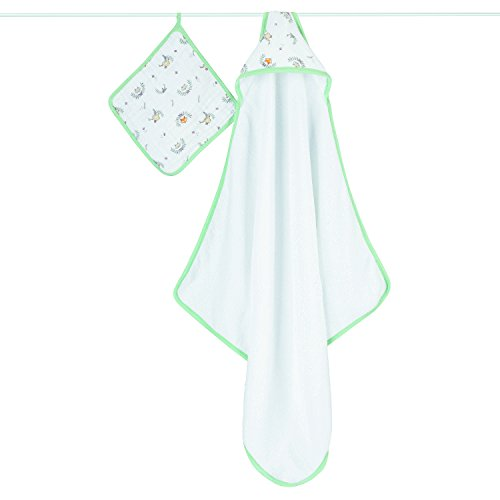 Aden + Anais Hooded Towel And Washcloth Set - Woodland Pals
