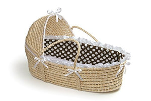 Hooded Moses Basket Natural/Brown Polka Dot