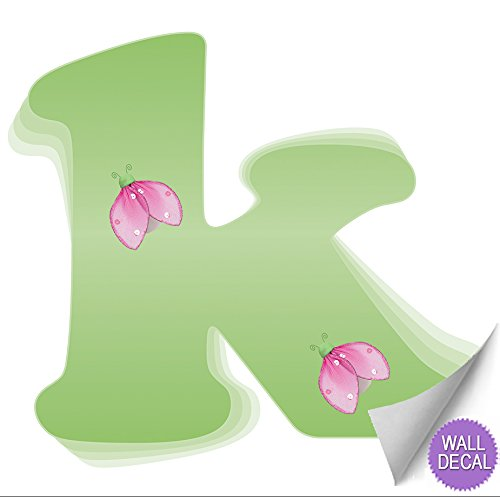 Wall Letters K Green Pink Ladybug Letter Stickers Alphabet Initial Vinyl Sticker Kid Decals Children Room Decor Baby Nursery Girl Bedroom Decorations Child Names Personalized Decal Graphics Ladybugs