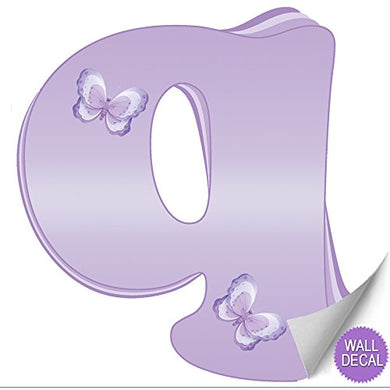 Wall Decals Letter  Q  Lavender Purple Butterfly Letters Baby Name Decal Stickers Decorative Alphabet Decor - Children'S Room, Baby'S Nursery, Girl'S Bedroom, Kid'S Playroom By Bugs-N-Blooms