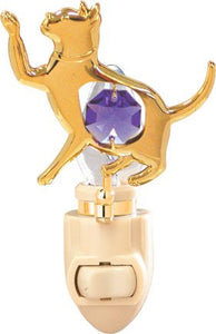 Cat In 24K Gold Plated Night Light..... With Purple Color Swarovski Austrian Crystals