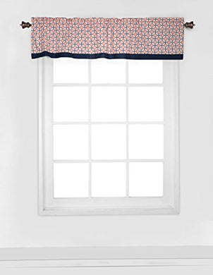 Bacati - Olivia Tribal Coral/Navy Window Valance
