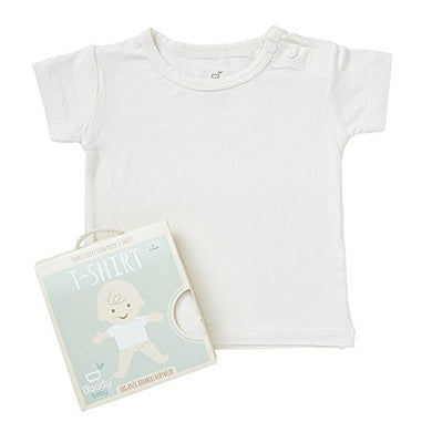 Boody Body Baby Ecowear T-Shirt - Soft Cooling Infant Tee Made From Natural Organic Bamboo - Soft Breathable Eco Fashion For Sensitive Skin - Chalk White, 6-12 Months