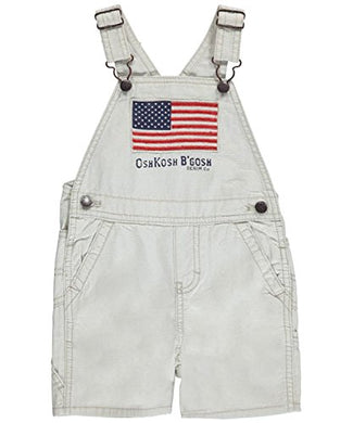 Oshkosh Boy'S American Flag Canvas Shortalls; Cream (18M)