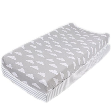 Cotton Diaper Changing Pad Cover Stripes &Amp; Clouds  By Mumby