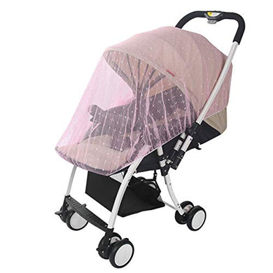 Uomny Baby Carriage Mosquito Net Cover Jacquard Pink For Stroller, Bassinet,Portable And Durable Baby Insect Netting,Infant Bug Protection Against Mosquitos,Toddler Insect Shield Canopy