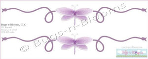 Dragonfly Wall Mural Vinyl Stickers Purple 2 Piece Scrolls Dragonflies Decals Children Nursery Baby Room Decor Girl Bedroom Decorations Kid Child Murals Art Birthday Party Playroom Walls Home Graphics