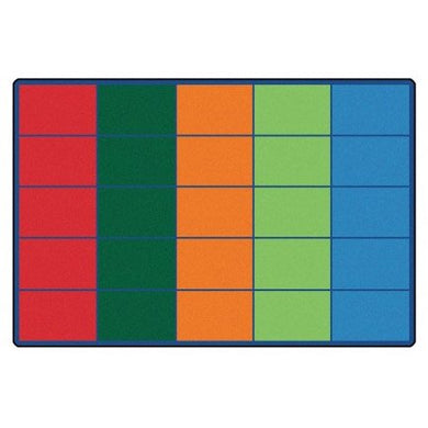 Carpets For Kids Colorful Rows Seating Carpet, 6 X 9 Feet, Rectangle