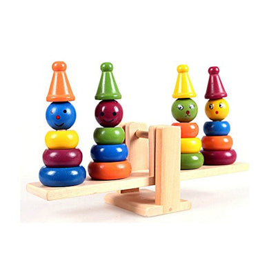 1 Pc Children'S Toy Wooden Clown Tower Balance Scale Board Wooden Early Education Learning Toys Clown Rainbow Stacker Seesaw Toy