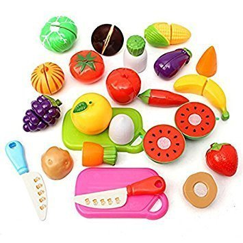 Oulii Kitchen Fruit Vegetables Food Toy Cutting Set Kids Pretend Role Play Kids Gift Birthday Gift For Children, (Random Color)