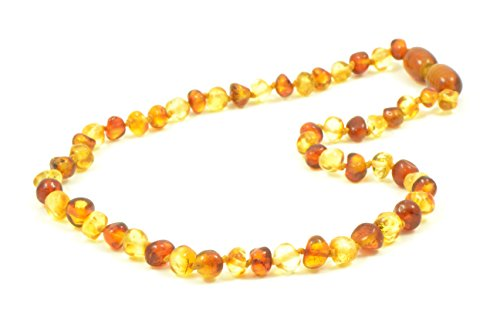 Polished Baltic Amber Teething Necklace - 12.6 Inches (32 Cm) - Unisex - Hand-Made Anti Flammatory, Drooling & Teething Pain Reduce (Cognac / Lemon)