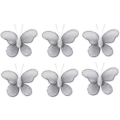Butterfly Decor 2  Gray Grey Mini X-Small Glitter Nylon Mesh Butterflies 6 Piece Decorations Set Decorate Baby Nursery Bedroom Girls Room Wall Wedding Birthday Party Shower Craft Scrapbook Invitation