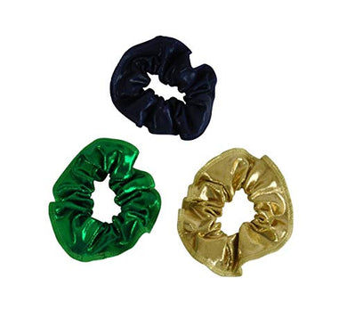 Obersee Kids Hair Tie Scrunchie, Gold/Green/Navy, One Size