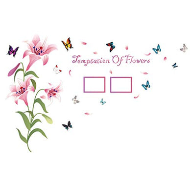 Pink Lily Flowers Photo Frame Butterflies Petals Wall Decal Home Sticker Pvc Murals Paper House Decoration Wallpaper Living Room Bedroom Art Picture For Kids Teen Senior Adult Baby