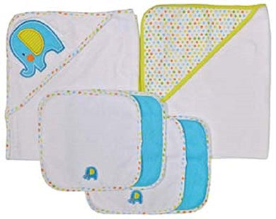 Neat Solutions Neat Solutions 2 Hooded Baby Towels And 4 Washcloths Set, Aqua Elephant