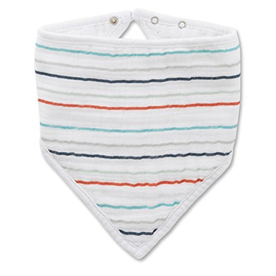 Aden + Anais Classic Bandana Bib, Tea Collection, 100% Cotton Muslin, Soft Absorbent 3 Layers, Adjustable, 8.5 X 16, Single, Fish Pond