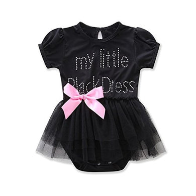 Girls Clothes Odeer 2017 Newborn Baby Girls Embroidered Lace Little Black Dress Bodysuit ( Size : 6 Month)