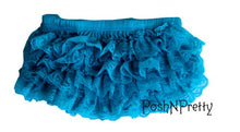 Load image into Gallery viewer, Premium Lace Ruffle Bloomer Diaper Cover. Size Small. 0 To 12M - Turquoise