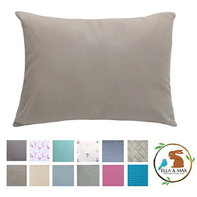 Ella &Amp; Max Toddler Pillowcase. Gray. Fits 13X18 &Amp; 14X19 Toddler Pillows. Easy To Wash &Amp; No Ironing. Handmade In Usa. Made Of Luxury Microfiber Fabric.