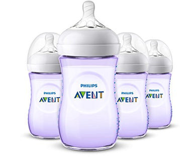Philips Avent Natural Baby Bottle, Purple, 9Oz 4Pk, Scf013/43